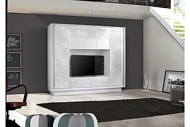 Sky TV-Vægkombinationination Hvid - blomsterprint