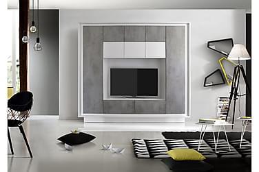 Sky TV-Vægkombinationination Hvid - betonlook