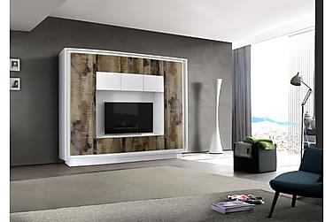 Sky TV-Vægkombinationination Hvid - Trælook