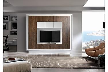 Sky TV-Vægkombinationination Hvid - Trælook cognac
