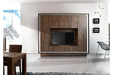 Sky TV-Vægkombinationination Trælook cognac