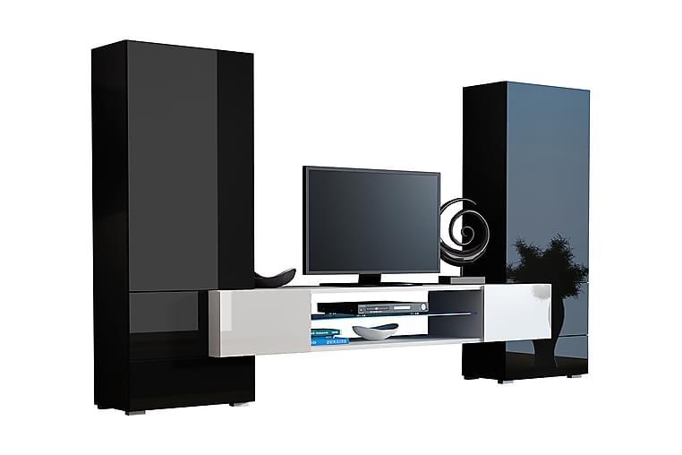 Tori TV-møbler & LED 278x46x162 cm - Sort / hvid - Møbler - TV-Borde & Mediemøbler - Tv-møbelsæt