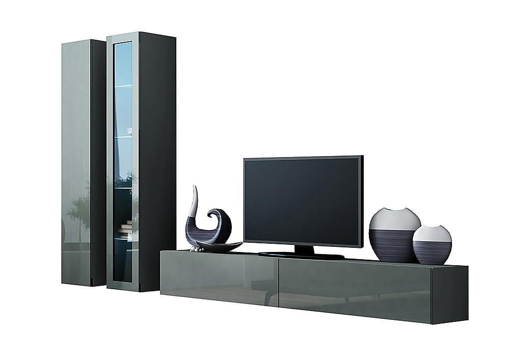 Vigo TV-møbelsæt 260x40x180 cm - Grå / Hvid - Møbler - TV-Borde & Mediemøbler - Tv-møbelsæt