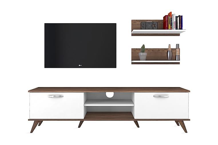 Virkesbo TV-Møbelsæt 180 cm - Hvid / brun - Møbler - TV-Borde & Mediemøbler - Tv-møbelsæt
