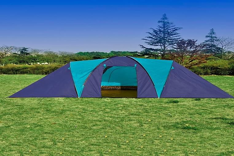 Campingtelt Stof 9 Personer Mørkeblå Og Blå - Blå - Sport & fritid - Camping & vandring - Telt